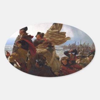 Adesivo Oval Washington que cruza arte do Delaware - E.U. do