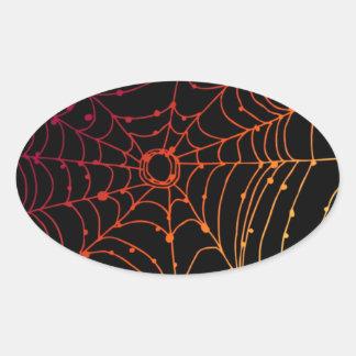 Adesivo Oval Web de aranha Vermelha-ish do inclinação