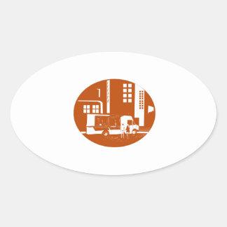 Adesivo Oval Woodcut do Oval das construções da cidade do