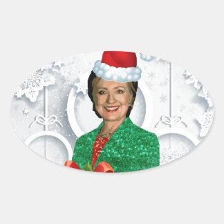 Adesivo Oval xmas Hillary clinton