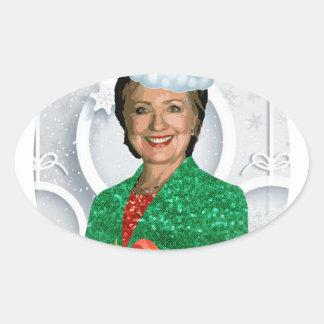 Adesivo Oval xmas Hillary clinton da feliz