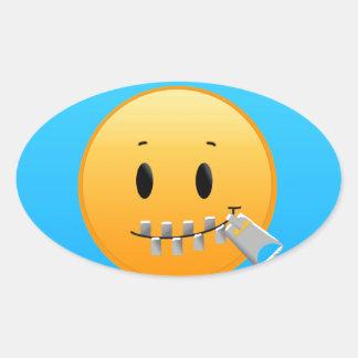 Adesivo Oval Zipper Emoji