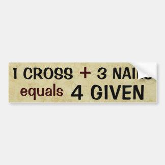 Adesivo Para Carro 1 cruz mais 3 semelhantes das unhas perdoados