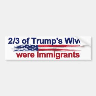 Adesivo Para Carro 2/3 das esposas do trunfo eram imigrantes