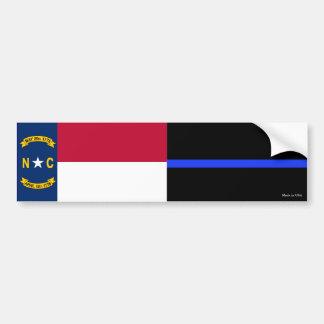 Adesivo Para Carro A bandeira do estado do NC & Blue Line fino
