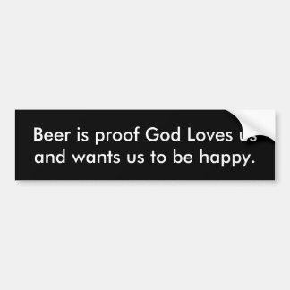 Adesivo Para Carro A cerveja é deus da prova ama-nos