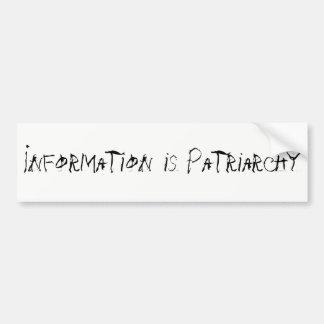 Adesivo Para Carro A informação é patriarcado Bumpersticker
