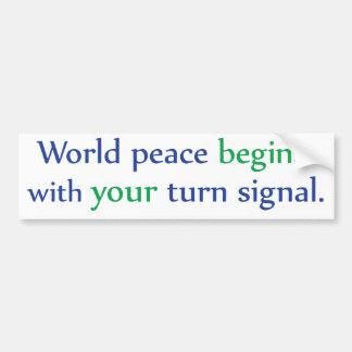 Adesivo Para Carro A paz de mundo começa com seu sinal de volta