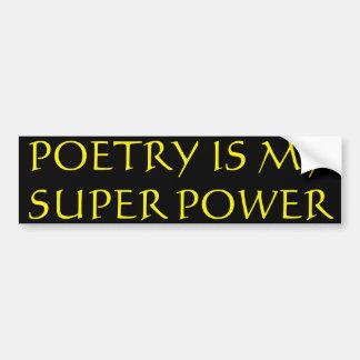 Adesivo Para Carro A poesia é meu autocolante no vidro traseiro do
