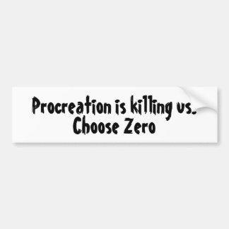 Adesivo Para Carro A procriação está matando-nos. Escolha zero