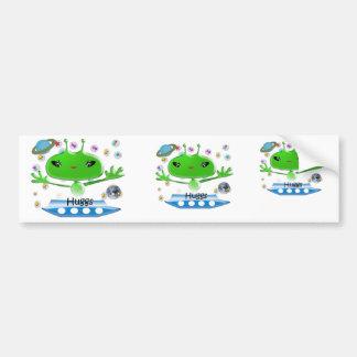 Adesivo Para Carro Aliens de espaço verdes bonitos com navio de