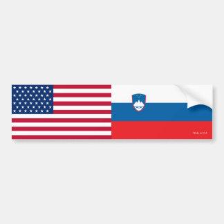 Adesivo Para Carro Americano & esloveno embandeira o autocolante no
