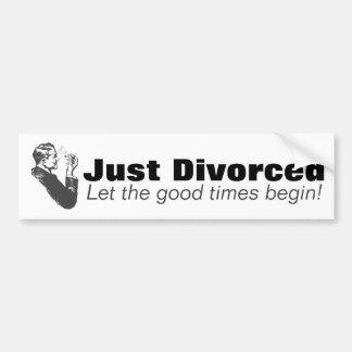 Adesivo Para Carro Apenas divorciado: Humor da celebração do divórcio