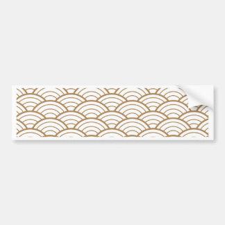 Adesivo Para Carro art deco, teste padrão japonês do fã, ouro,