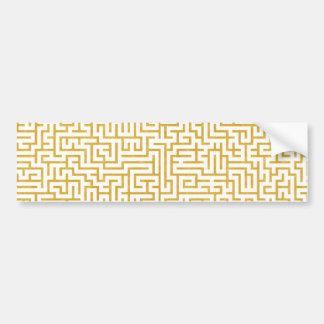 Adesivo Para Carro Arte moderna elegante do labirinto - ouro & branco