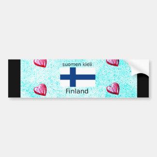 Adesivo Para Carro Bandeira de Finlandia e design finlandês da língua