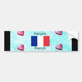 Adesivo Para Carro Bandeira de France e design da língua francesa