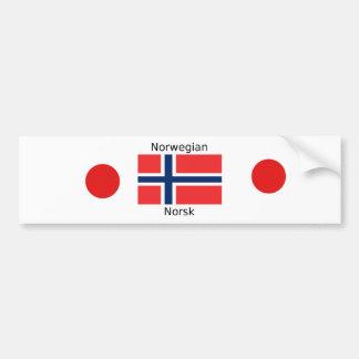 Adesivo Para Carro Bandeira de Noruega e design norueguês da língua