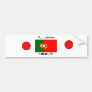 Adesivo Para Carro Bandeira de Portugal e design português da língua