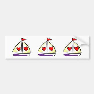 Adesivo Para Carro Barco vermelho da navigação do amor dos corações