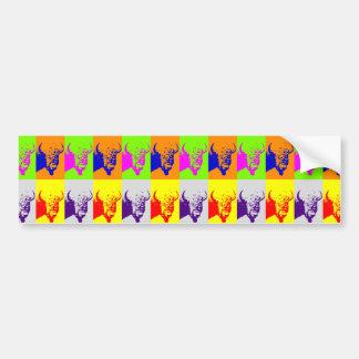 Adesivo Para Carro Bisonte do búfalo do pop art de 4 cores
