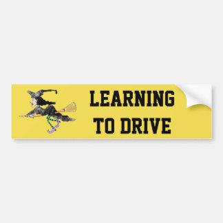 Adesivo Para Carro Bruxa engraçada que aprende conduzir o autocolante