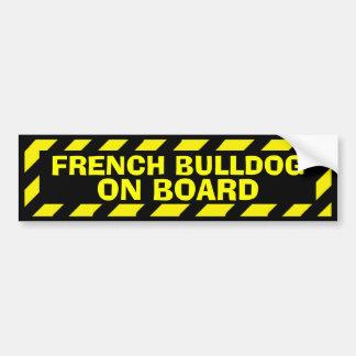 Adesivo Para Carro Buldogue francês a bordo da etiqueta amarela do