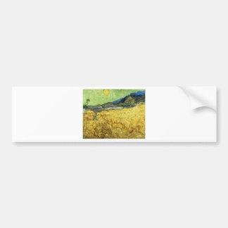 Adesivo Para Carro Campos de trigo com a ceifeira no nascer do sol -