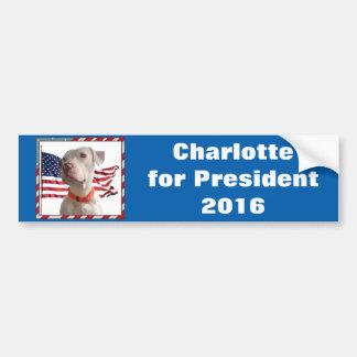 Adesivo Para Carro Charlotte para o presidente 2016