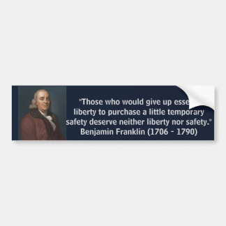Adesivo Para Carro Citações da liberdade de Ben Franklin