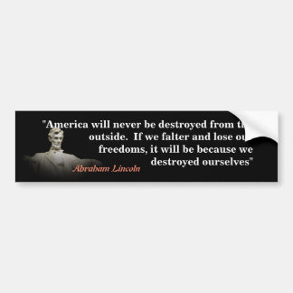 Adesivo Para Carro Citações de Abraham Lincoln na destruição de