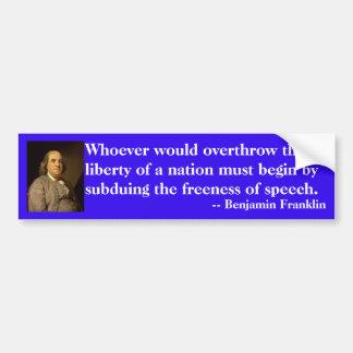 Adesivo Para Carro Citações de Benjamin Franklin na liberdade de