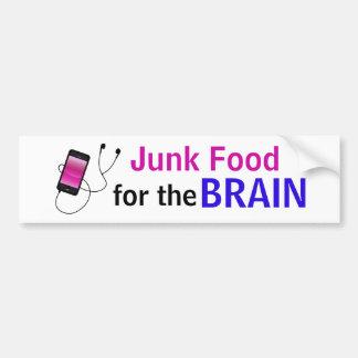 """Adesivo Para Carro """"Comida lixo para etiqueta do cérebro"""""""