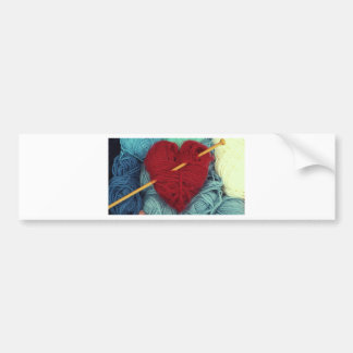 Adesivo Para Carro coração bonito de lãs com a fotografia da agulha