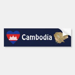 Adesivo Para Carro Coração da bandeira de Cambodia + Autocolante no