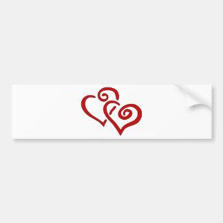 Adesivo Para Carro Coração dobro vermelho