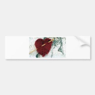 Adesivo Para Carro Coração vermelho de lãs na fotografia do latido de