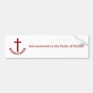 Adesivo Para Carro Cruz vermelha e design de texto Redeemed cristão