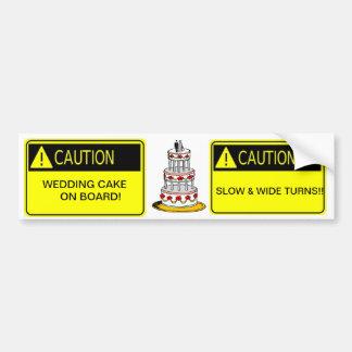 Adesivo Para Carro cuidado! bolo de casamento a bordo! autocolante no