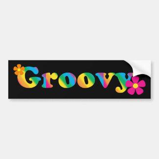 Adesivo Para Carro Design brilhante Groovy e das flores das cores 60s