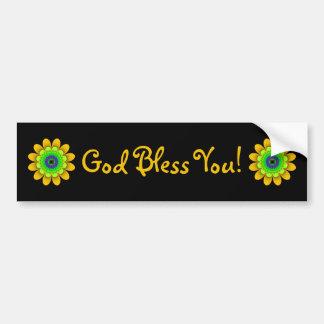 Adesivo Para Carro Deus abençoe amarelos de flower power você