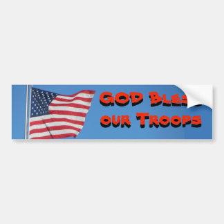 Adesivo Para Carro Deus abençoe nossas tropas! Com bandeira