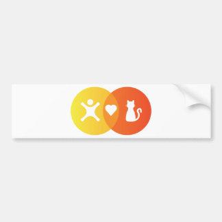 Adesivo Para Carro Do coração dos gatos pessoas do diagrama de Venn