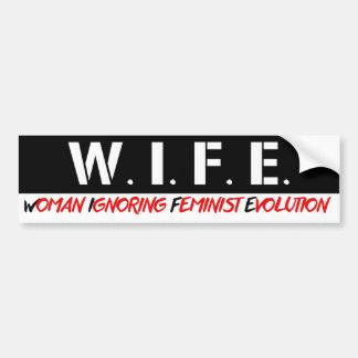 Adesivo Para Carro ESPOSA - mulher que ignora a evolução feminista -