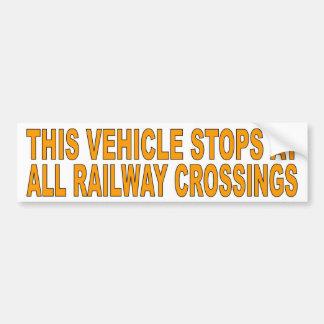 Adesivo Para Carro Este veículo para em todos os cruzamentos railway
