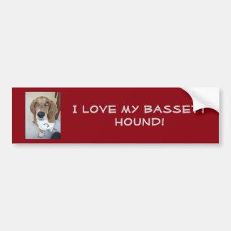 Adesivo Para Carro Eu amo meu cão do Bassett!  Autocolante no vidro