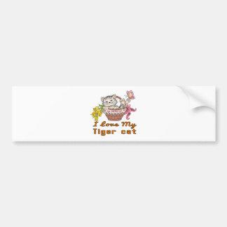 Adesivo Para Carro Eu amo meu gato de tigre