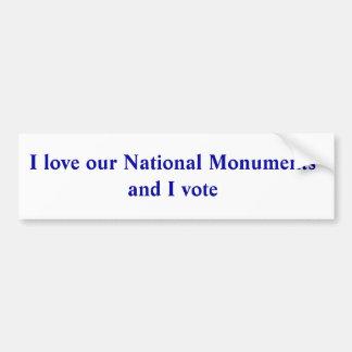 Adesivo Para Carro Eu amo nossos monumentos nacionais e eu voto