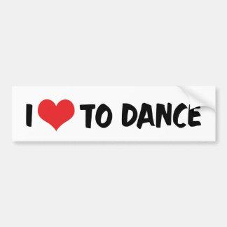 Adesivo Para Carro Eu amo o coração dançar - o amante da valsa do