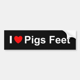 Adesivo Para Carro Eu amo os pés dos porcos do coração